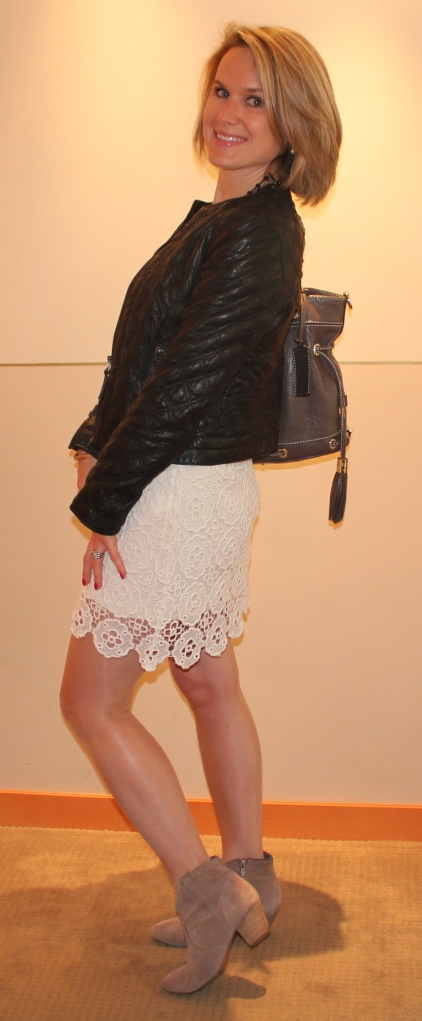 Dress by Sinéquanone Leather jacket by Zara Handbag by Lancel Boots by Ash