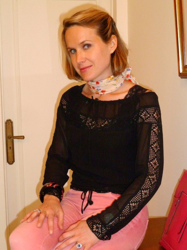 Slim rose corail Zara Blouse en soie et dentelle crochet LaltraModa Foulard Des Petits Hauts Manchette Sonia Rykiel