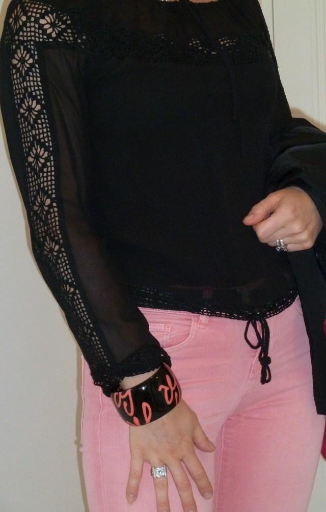 Blouse en soie et dentelle crochet LaltraModa Manchette Sonia Rykiel