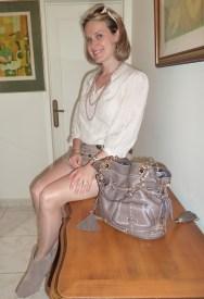 Shirt by Gérard Darel Skirt by BCBG Max Azria Boots by Ash Handbag by Lancel Sunglasses by Gucci