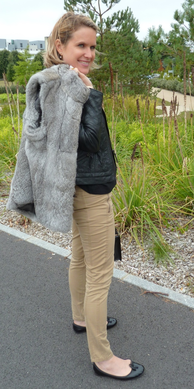 Leather jacket by Zara Fur jacket by Machael Kors Slim by Stefanel