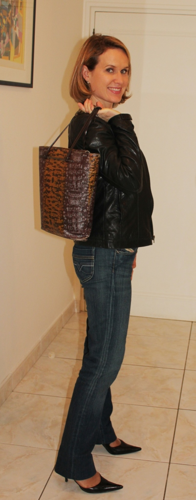 Leather jacket by Naf Naf Jeans by Diesel Bag by Kenzo
