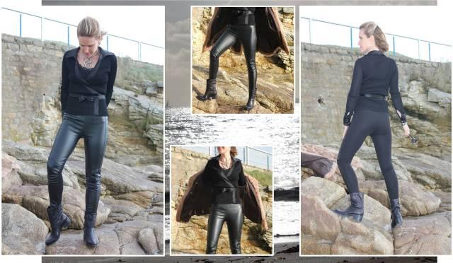 Black leather slim & fur multi 1