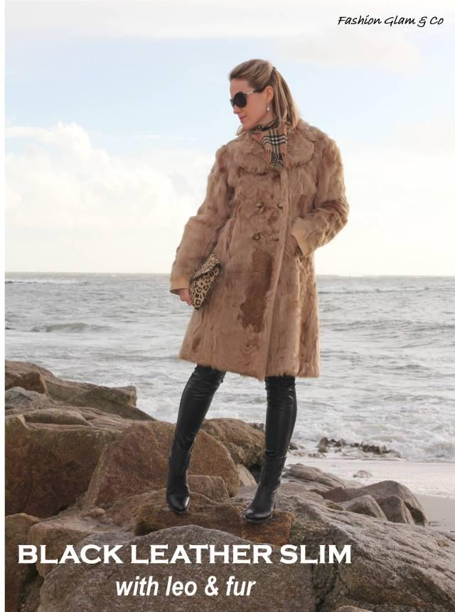 Black leather slim & fur  TITLE