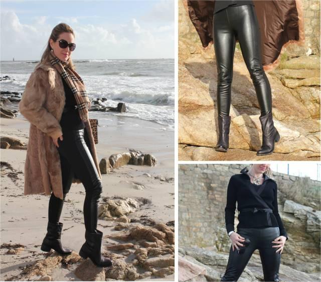 Black leather slim & fur trio 2