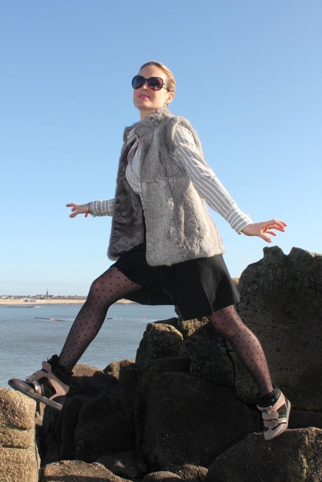 Combo skirt, sneakers & plumetis (37)