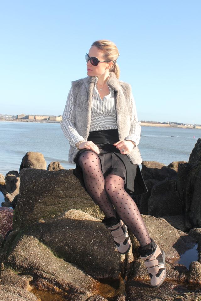 Combo skirt, sneakers & plumetis (40)