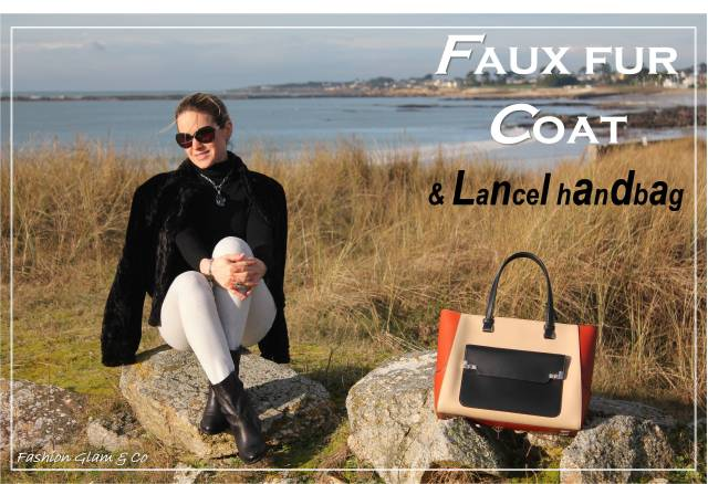 Faux fur coat & Lancel bag TITLE