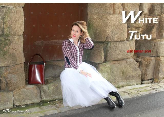 White tutu with tartan shirt TITLE