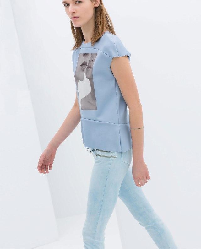 Zara baby blue neoprene top