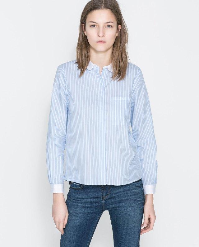 Zara baby blue popeline shirt