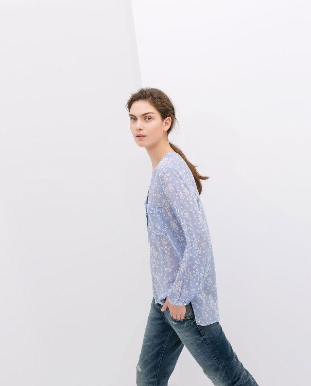Zara baby blue printed blouse
