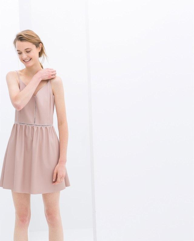 Zara baby pink faux leather dress