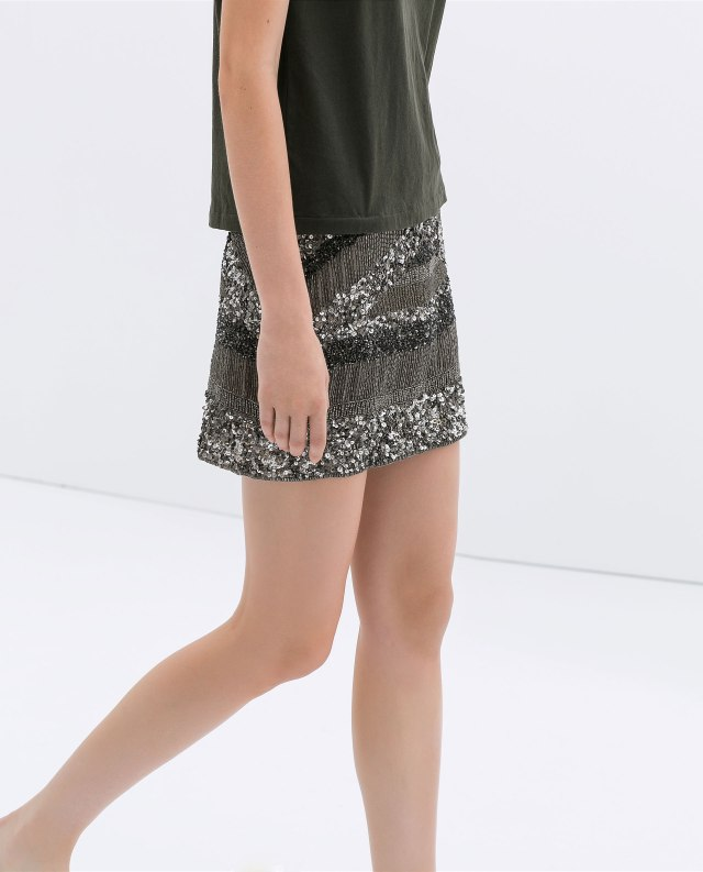 Zara - Glitters embroidered grey skirt A