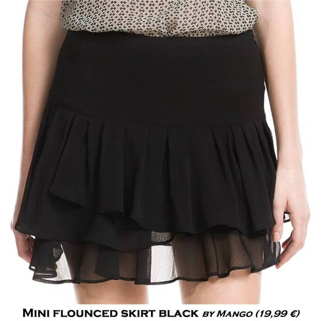 Mini black flounced skirt