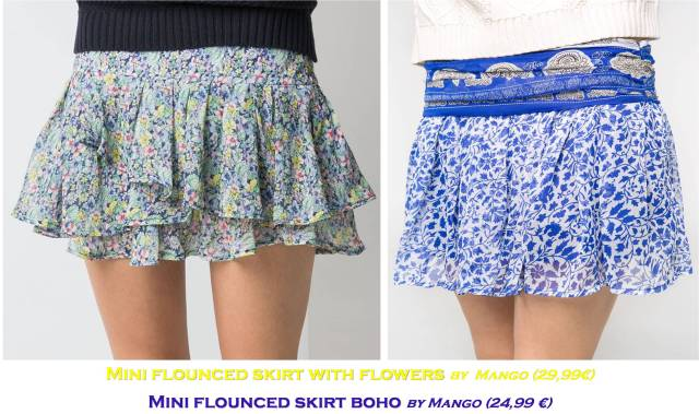 Mini flounced skirts